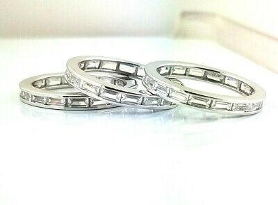 Baguette Diamond Eternity Wedding Band - 14k White Gold 1 CT Baguette Eternity Band Stackable Ring Endless Wedding Band