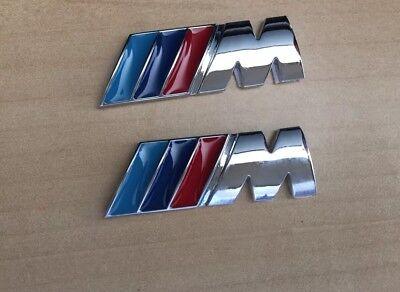 2 x ///M Sport Small Emblem M Power Wing Badge Metal Chrome BMW New
