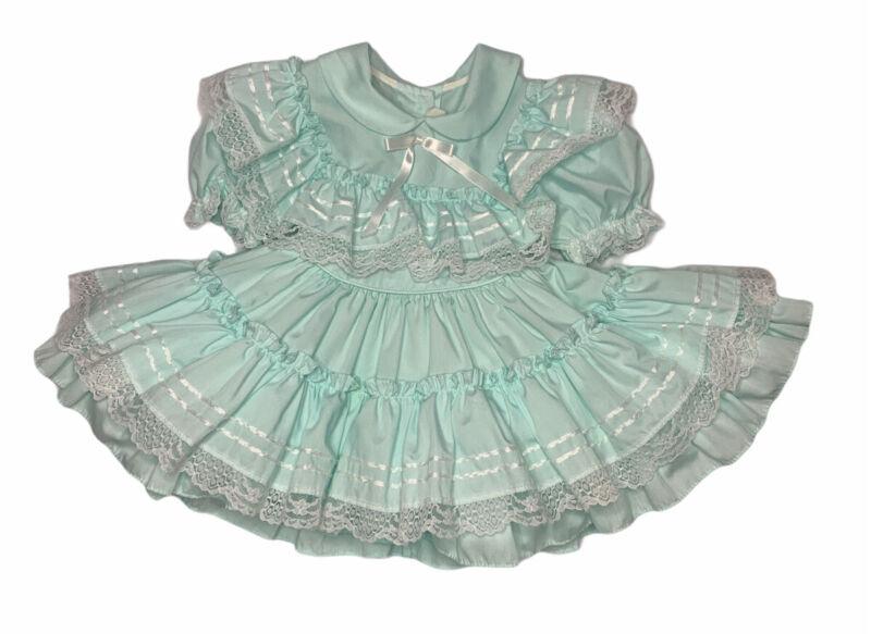 Vintage Gold Bell Aqua White Lace Full Circle Ruffle Pageant Dress Size 2 USA