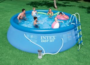 Intex 15 x 48 Easy Set Above Ground Swimming Pool Package + 1000 GPH GFCI Pump