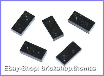 Lego 5 x Plate (1x2) Panel - 3023 Black - Black Plate Plates - New / New