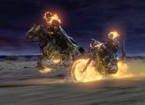 GHOST RIDER Nicolas Cage - Johnny Blaze - Horse - 8x10 Movie Photo FIRE! Marvel