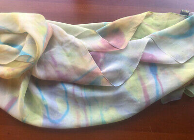 Vintage Scarf Styles -1920s to 1960s KasAga Vintage Silk Chiffon Hand Painted Oblong Artsy Scarf Made in Poland $10.00 AT vintagedancer.com