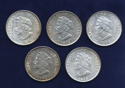 Colombia Republic 1892  50 Centavos Silver Coins  Columbus  Lot Of  5   Xf To Au