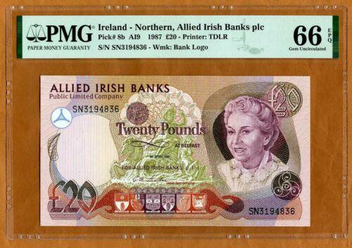 Ireland Northern, Allied Irish Bank 20 pounds, 1987, P-8b, PMG-67 EPQ Gem UNC