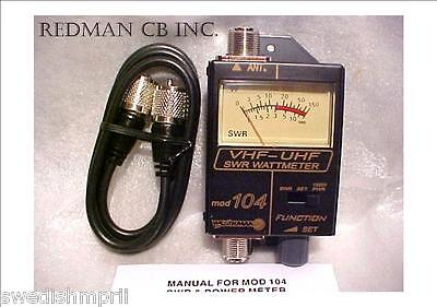 Workman 104 SWR / Power METER  VHF / UHF Ham Radio 120 - 500 MHz  3 ft Jumper on Rummage