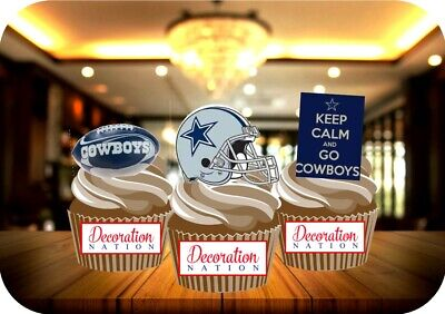 12 Novelty American Football Dallas Cowboys Trio Mix Edible Cake Toppers sport - Dallas Cowboys Birthday Cake