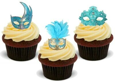 Masquerade Ball Mask Turquoise mix-12 Stand Up Premium Card Cupcake Cake Toppers