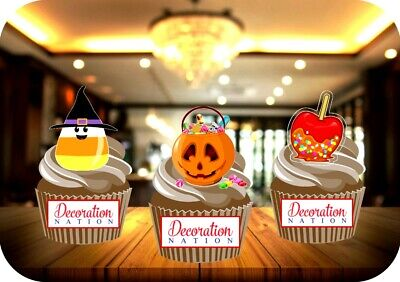 Halloween Toffee Candy (Halloween Candy Mix - Candy Corn Toffee Apple 12 Edible STANDUP Cake Toppers)