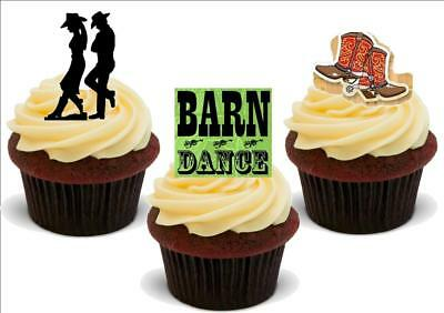 Barn Dance Mix A - 12 Edible Stand Up Premium Card Cake Toppers - Barn Dance Decor