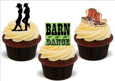 Barn Dance Mix A - 12 Edible Stand Up Premium Card Cake Toppers Decorations - Barn Dance Decor
