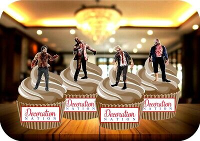 HALLOWEEN ZOMBIE SCARY MIX 12 EDIBLE STANDUP CAKE TOPPERS CREEPY SPOOKY BLOODY ()