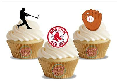 12 x Baseball Boston Red Sox Trio Mix   Birthday Sports  Edible Cake Toppers