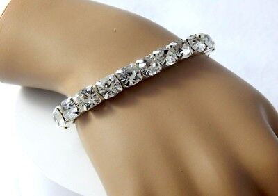 SPARKLY CLEAR CRYSTAL STRETCH BRACELET-SIZE: MEDIUM