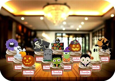 HALLOWEEN CUTE KIDS PARTY PACK MIX 12 EDIBLE STANDUP CAKE TOPPER GHOST - Mix Halloween Kids