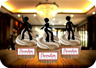 12 Novelty 70s Seventies Silhouette Dancers Mix Edible Cake Toppers Decorations - 70s Dancer Silhouette