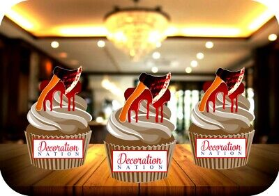 Halloween Bloody Axes 12 Edible STANDUP Cake Toppers Decorations Scary Blood Axe