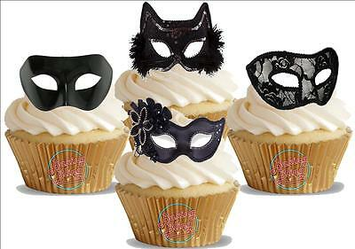 Novelty Black Masquerade Masks Mix NEW Edible Cupcake Cake Toppers Decorations