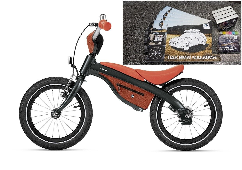 Original BMW Kidsbike Laufrad-Kinderfahrrad Schwarz-Orange +BMW Malbuch + Kreide