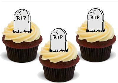HALLOWEEN RIP Tombstone 12 Edible Standup Premium Wafer Cake Toppers](Rip Halloween Cake)