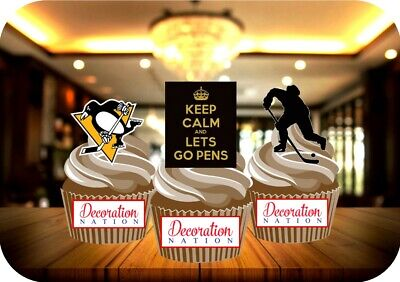 Ice Hockey Pittsburgh Penguins Trio 12 STAND UP Edible Cake Toppers SPORTS SPORT - Pittsburgh Penguins Party Supplies