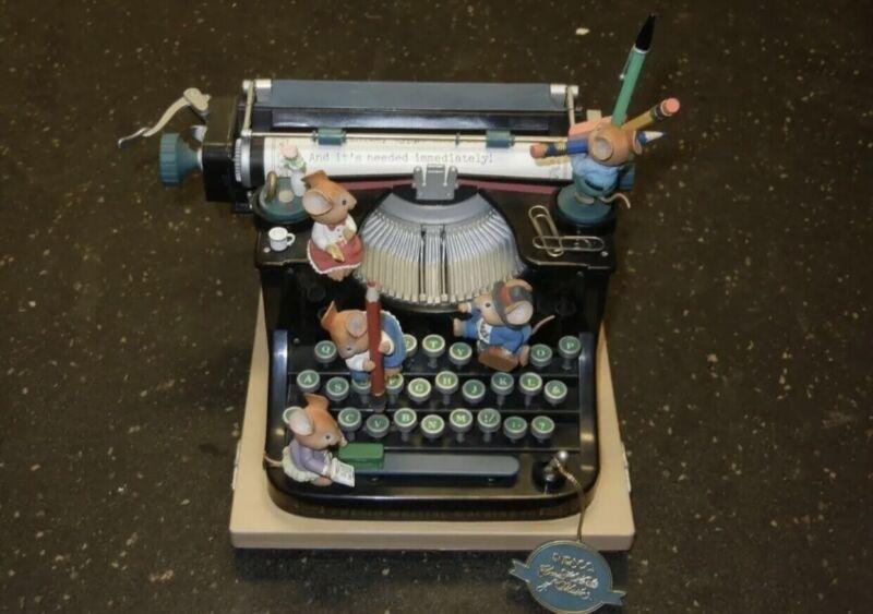 "Enesco ""Take This Job & Love it"" Animated Mouse Typewriter Music Box"