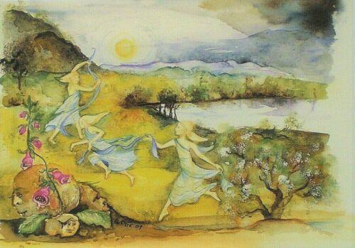 Postcard Art Card Fairy Dancing Flowers Trees Faries Magic