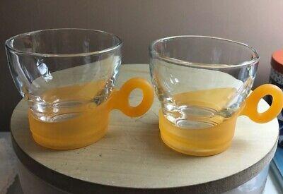 Bormioli Rocco Espresso Coffee Cups Italy Tempered Glass-Orange Handles Set  2 Bormioli Rocco Espresso Cups