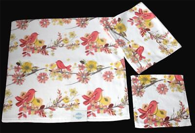 3 Serendipity Yellow Coral Floral Birds Velour Bath Hand Towels Wash Cloth (Coral Floral Hand Towel)