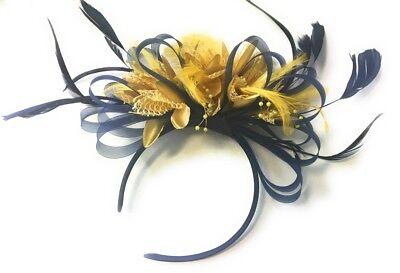 BESPOKE Navy Blue and Gold Fascinator Headband UK Wedding Ascot Races (Navy Blue And Gold Wedding)