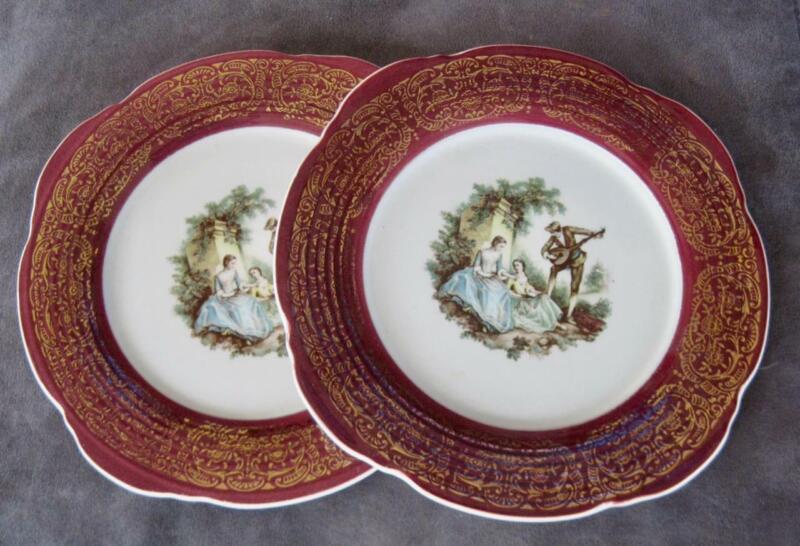 """(2) Mid Century Sebring Pottery Serenade Maroon & 22 Kt. Gold Trim 7.5"""" Plates"""