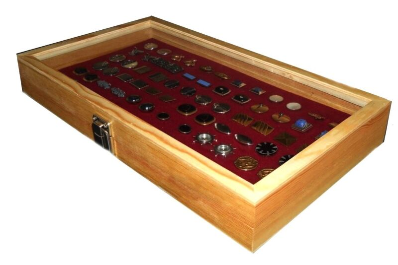 Natural Wood Glass Top Lid Burgundy 72 Ring Jewelry Display Storage Box Case