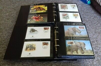 2 x WWF World Wildlife Fund Albums with Stamps, First Day Covers.