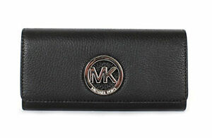 20c594fd61f2 Michael Kors Black Leather Silver Fulton Flap Continental Wallet for ...
