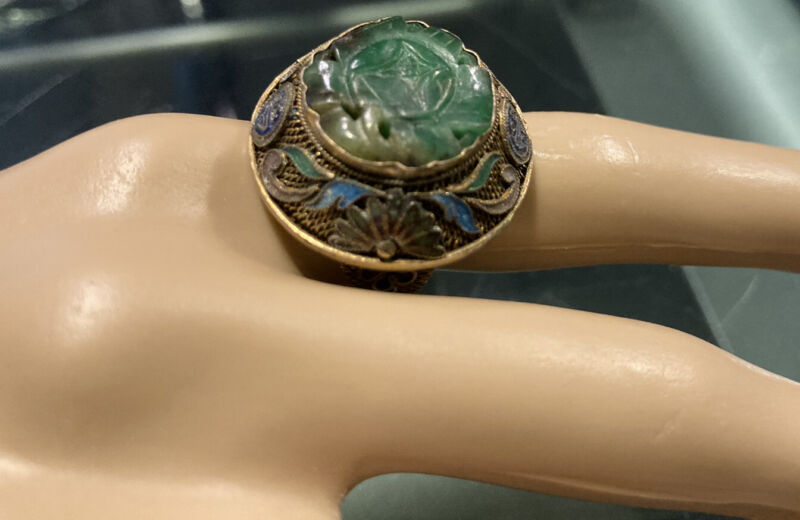 Antique Chinese 19thc Silver Jade Carved  Ring Adjustable Size 8