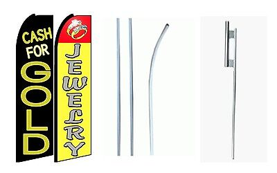 Cash For Gold Jewelry King Size Swooper Flag Sign Wcomplete 2 Full Set