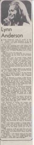 LYNN ANDERSON : newspaper INTERVIEW ARTICLE - 1975