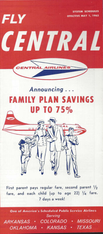 Central Airlines system timetable 5/1/63 [0098]