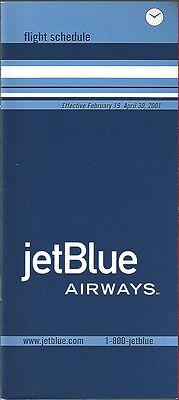 Jetblue Airways System Timetable 2 19 01  6061   Buy 4  Save 50