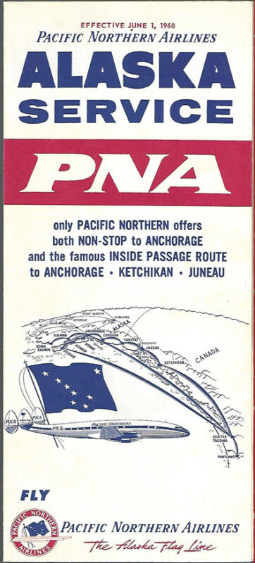 Pacific Northern Airlines system timetable 6/1/60 [8021] Buy 4+ save 25%