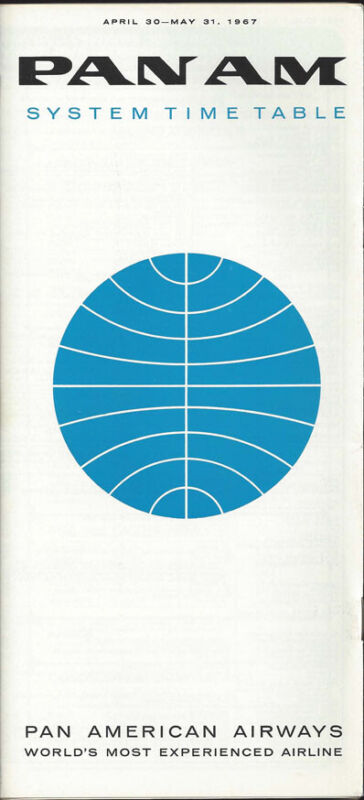 Pan Am system timetable 4/30/67 [0098]