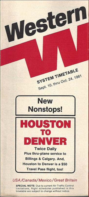Western Airlines system timetable 9/10/81 [308WA] Buy 4+ save 25%