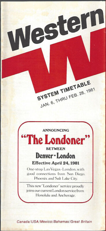 Western Airlines system timetable 1/6/81 [308WA] Buy 4+ save 25%
