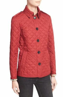 Burberry 'Ashurst' Quilted Jacket Plaid Check - Dark Parade Red - Medium M Burberry Quilted Check