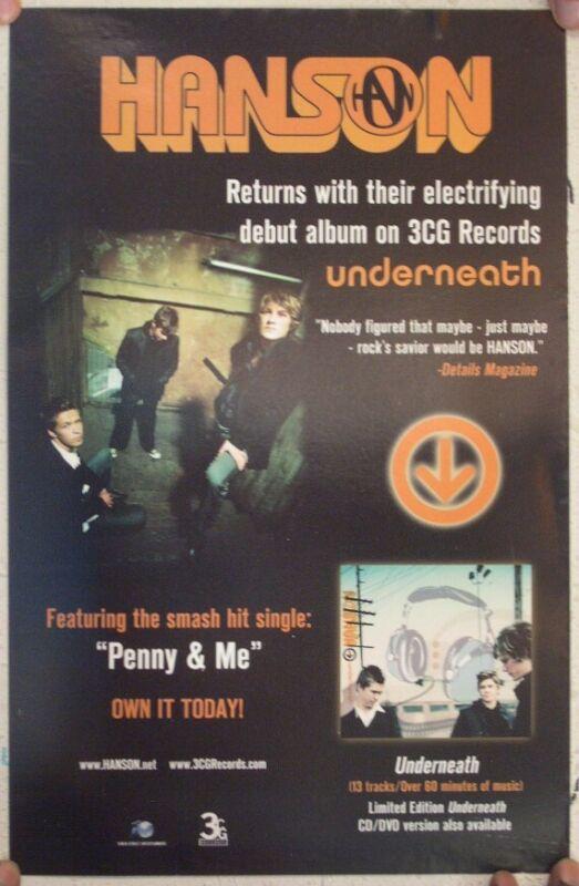 Hanson Poster Promo Underneath Mint 11x17