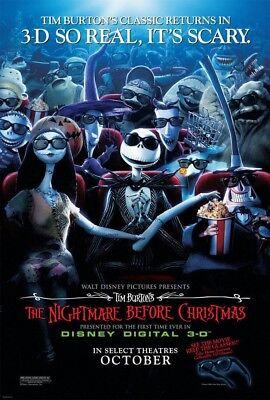 NIGHTMARE BEFORE CHRISTMAS 3D MOVIE POSTER 2 Sided ORIGINAL 27x40 TIM BURTON