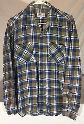 Vintage Late 70's Forte' Plaid Flannel Long Sleeve Button Down Shirt Men's XL