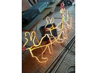 Double Reindeers and Santa Sleigh flashing