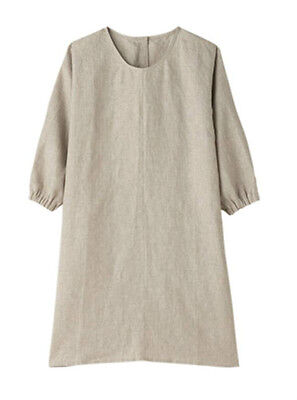 MUJI MoMA Plain-Woven Unbleached Hemp Kitchen Coverall Apron w/Pouch from JAPAN