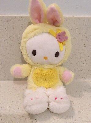 "Sanrio 2009 Hello Kitty Wearing Yellow Bunny Costume 7"" Plush"